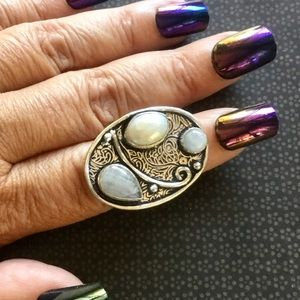 Moonstone Gemstone & Natural Pearl Ring